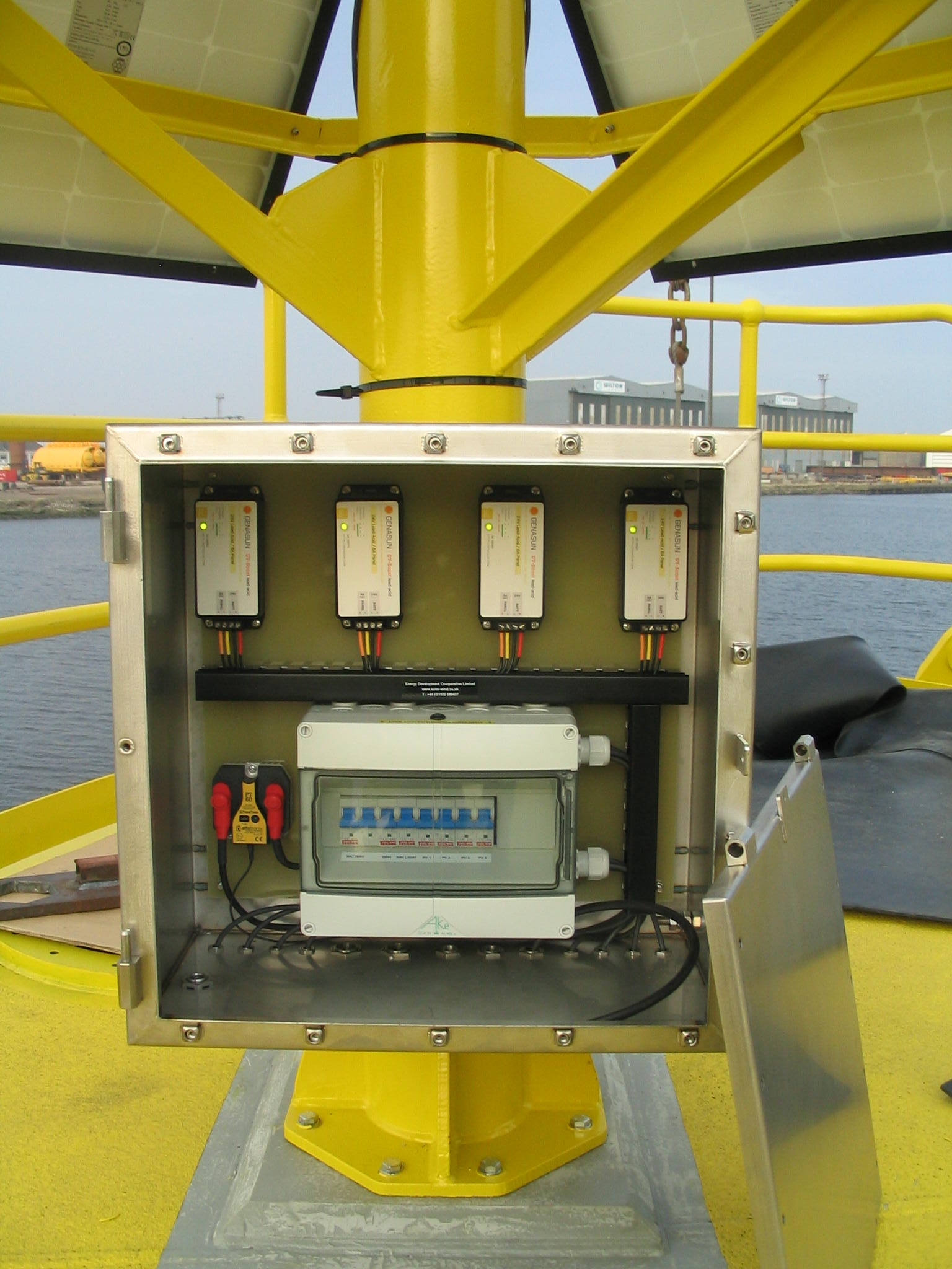 off-grid solar installation marine buoy