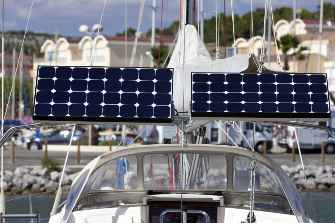 solar pv panels installed on yacht